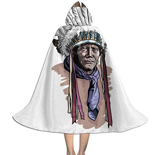 WANSJPIF Apache Man Wearing an Indian Chief Headdress Kids Hooded Cloak Cape for Halloween Christmas Cosplay Costumes Tunic,Halloween Dress Up,Personality Halloween Witch's Cloak Black Girls ()