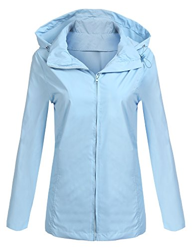Soteer Women's Waterproof Lightweight Raincoat Anorak Outdoor Rain (Blue Trench Coat)