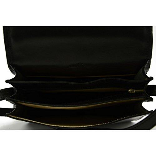 Borsa Donna A Tracolla Con 3 Scomparti Colore Nero - Pelletteria Toscana Made In Italy - Borsa Donna