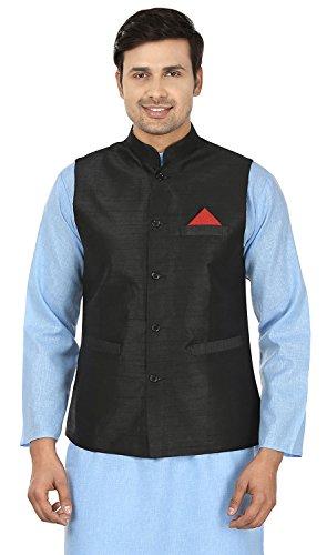 Men's Sleeve Less Silk Nehru Jacket Traditional India Waistcoat (Black, (Black Silk Jacket)