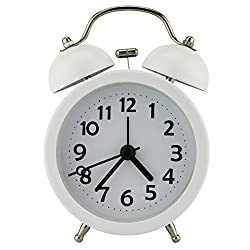 Pilife 3 No-ticking Mute Quartz Analog Clock Loud Double Bell Bedside Table Alarm Clock,with Night Light (White)