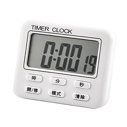 eDealMax ABS LCD de batería Desarrollado digital de cuenta atrás de alarma Hasta reloj temporizador Blanca