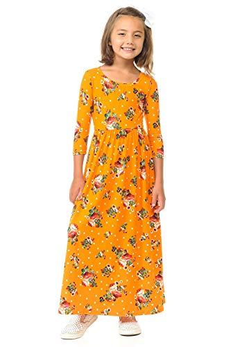 Honey Mustard Brands - Pastel by Vivienne Honey Vanilla Girls' Fit and Flare Maxi Dress Large Floral Mustard Polka