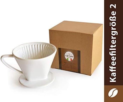 Caffe Italia Permanente de café de Filtro Excelente aromareicher Café Sabor – Mano Filtro de Filtro de café Aufsatz cerámica – Tamaño 2 para 2 – 3 Tazas – Color Blanco – Premium de Calidad: Amazon.es: Hogar
