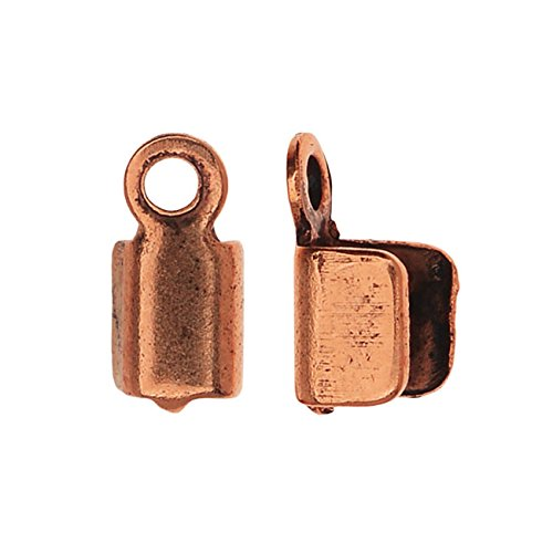 End Finishing - Nunn Design Foldover Crimp Ends Finishing Cords 2.5mm, 6 Pieces, Antiqed Copper Plated