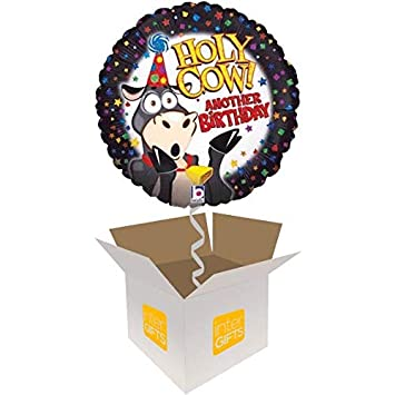 InterBalloon Helium Inflated Holy Cow Another Birthday Balloon Delivered In A Box Amazoncouk Toys Games