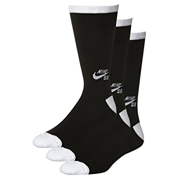 Nike SB 3Ppk Crew Calcetines, Hombre, Negro (Black/White), M