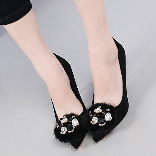 9 nbsp;cm Agua zapatos Invierno otoño negro kphy mujer Consejo individuales vídeo Guantes ultrafina de tacón Peluche agujeros en Fein del del con luz y satén BTwxq1wR