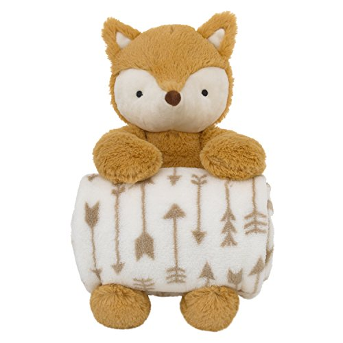 Little Love by NoJo Super Soft Plush and Blanket Fox, Rust, White Gift Set