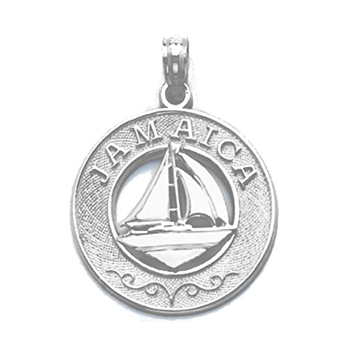 925 Sterling Silver Travel Charm Pendant, Jamaica On Round with Sailboat Center ()