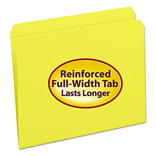 Smead File Folder, Reinforced Straight-Cut Tab, Letter Size, Yellow, 100 per Box (12910)