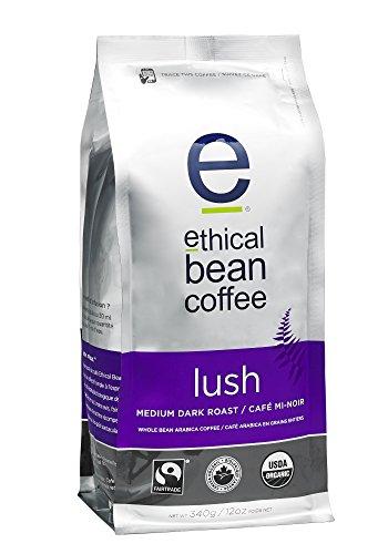 Ethical Bean Coffee Lush: Medium Dark Roast Whole Bean Coffee - USDA Certified Organic Coffee, Fair Trade Certified - 12 Ounce Bags (Pack of 2)