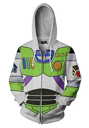 Ayazan Unisex Astronaut Printed Hoodie Sweatshirt Zipper Cosplay Costume Jacket Coat (XL, A)]()