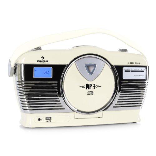Auna RCD-70 Vintage Kofferradio Retro-Radio mit CD-Mp3-Player (USB-Slot, Netz- und Batterie-Betrieb) creme
