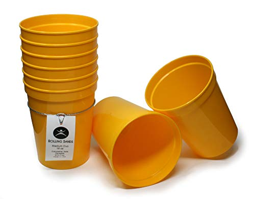 Rolling Sands 16oz Reusable Plastic Stadium Cups Yellow (8 Pack, Made in USA, BPA-Free) Dishwasher Safe Plastic Tumblers