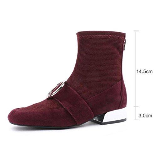 botas botas elásticas con trabajo de Botas RED 33 Ante Rough Botas de En de Martin Botas cabeza mujer 8051FD para Red simples las cuadrada 43 Botas WAwPqxn0T