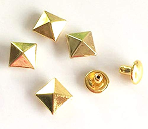 Leather Rivets Set 100 Sets 8mm Antique Brass Double Cap Round Rapid Rivet Punk Rock Leather Craft Rivet Pyramid Shape with Tools by X-CRAFT (Image #3)