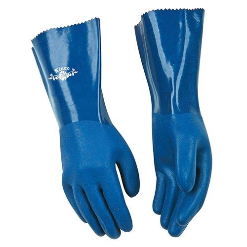 Large Seamless Cotton Lining Blue KINCO 7182W-L PVC Sandy Finish Glove 12 Gauntlet Cuff