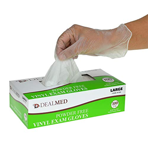 Dealmed Disposable Vinyl Exam Gloves, 100 Count (Large) from Dealmed