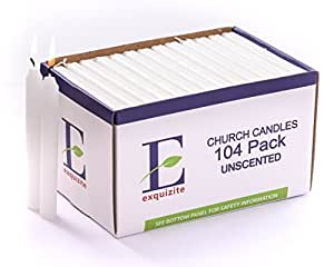 """104 Church Candles for Devotional Candlelight Vigil Service, Box of 104 Candles, Unscented White 5""""H X 1/2""""D, No Smoke by Exquizite"""