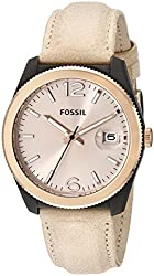 Fossil Women's ES3777 Perfect Boyfriend Gold-Tone Watch with Beige Leather Band