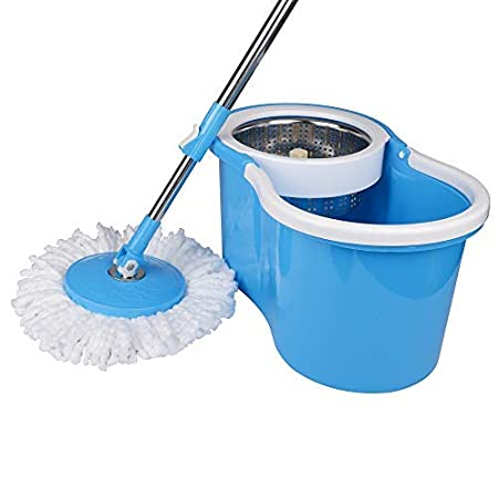 TREQA King S310 Stainless Steel Spin mop Easy Clean Bucket Mop for Floor Cleaning with 2 Microfiber Mop Heads Refills - Mop Handle