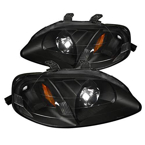 Honda Civic 2/3/4Dr Crystal Black Projector Headlights Head Lamps Pair