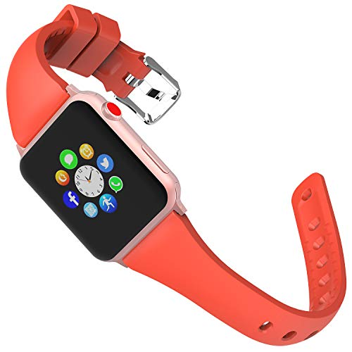 Lwsengme Sport Band Compatible with Apple Watch Series 4&3&2&1, Choose Color-Soft Rubber & Width(38mm/40mm,42mm/44mm) Fashion Slim Replacement Wristbands Compatible with iWatch Series 4/3/2/1 - Band Fashion The