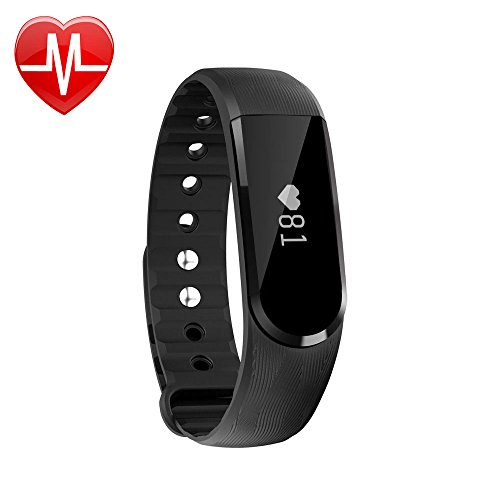 LETSCOM Fitness Tracker Watch - Bluetooth 4.0 Heart Rate Monitor Bracelet - IP67 Waterproof Touch Screen Smart Bands with Activity Tracker for iPhone Android Smartphone Black