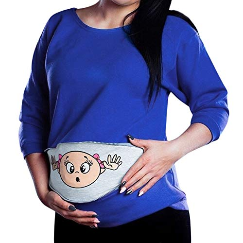 Women Maternity Sweatshirt Funny Baby Peeking Printing Zip Long Sleeved Blouse Pregnancy Mother Pullover Tops Plus Size