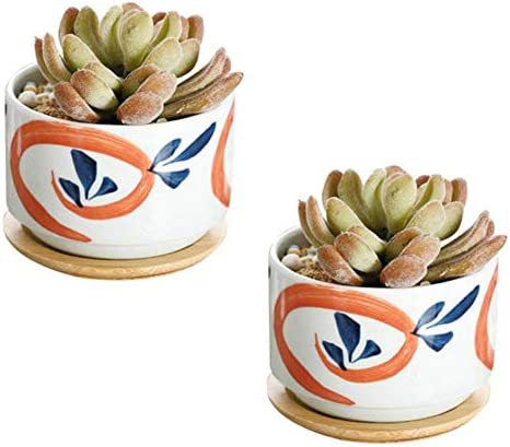 JINMURY 3 inch Japanese Style Ceramic Plant Pots with Bamboo Tray Succulent Planter Cactus Plant Pot Flower Pot Home Decor NO.2