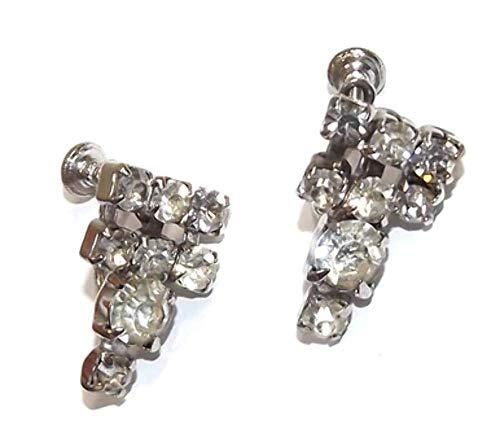 Vintage Silver Tone Screw Back Delsa Rhinestone Dangle Geometric - Signed Earrings Rhinestone