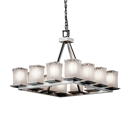 (Justice Design Group Veneto Luce 12-Light Chandelier - Brushed Nickel Finish with White Frosted Venetian Glass Shade)