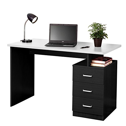 Fineboard FB-D04-BKW Home Office Desk with 3 Drawers, Black/White