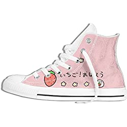 NAFQ Pink Strawberry Japanese Cartoon Classic Canvas Sneakers Shoes Lace Up Unisex High Top