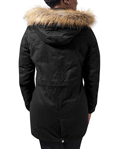 Peached Mujer Parka Sherpa Ladies black Chaqueta Para Lined 7 Classics Urban Negro qwpB8AIW
