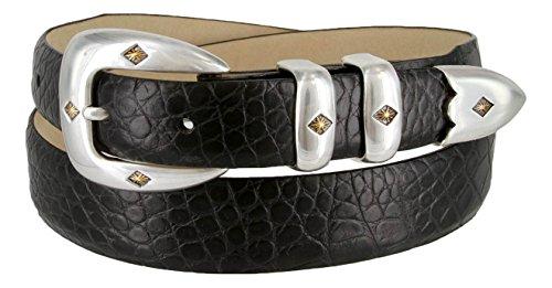 Alligator Genuine Belt (Tuscon Gold Genuine Italian Calfskin Leather Designer Dress Golf Belt for Men(Alligator Black,)