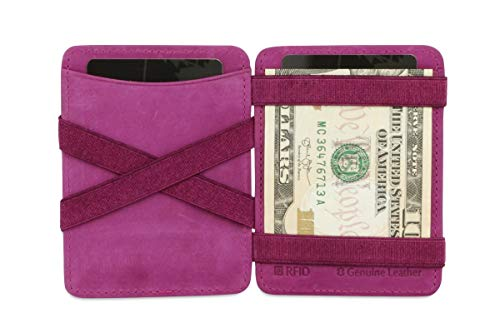 Hunterson Minimalist Slim Magic Coin Wallet, Genuine Leather RFID Blocking