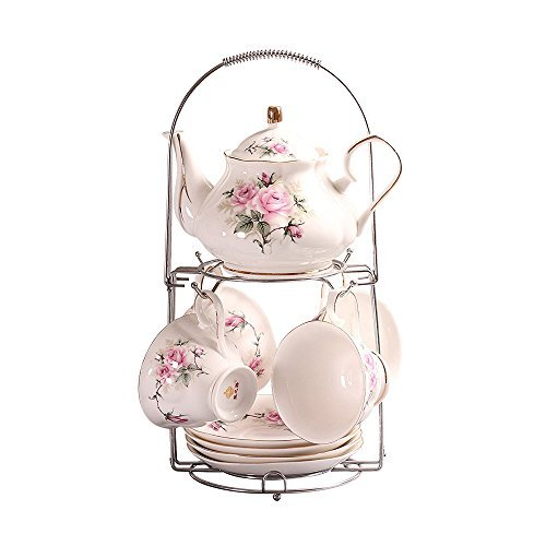 ufengke 9 Piece European Ceramic Tea Set, Bone China Tea Service Coffee Set With Metal Holder, For Wedding And Gift, Pink Camellia Painting