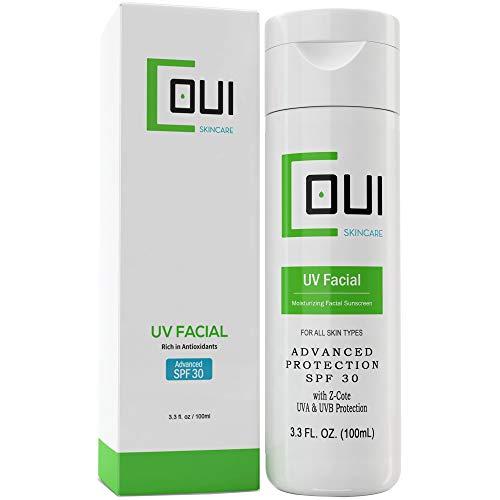 COUI UV Facial Face Sunscreen SPF 30 Mineral Zinc Oxide Moisturizer Lotion 3.3oz (Best Daytime Moisturizer For Mature Skin)