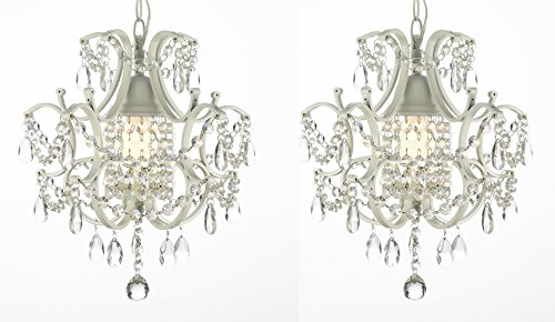 Set of 2 Wrought Iron Crystal Chandelier Lighting Country French White , One Light , Free Shipping , Ceiling Fixture