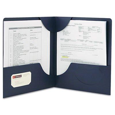Smead 87982 Lockit Two-Pocket Folder Textured Heavyweight Paper 11 x 8 1/2 DK Blue ()