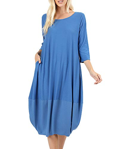 NiuBia Womens Bubble Hem Dresses 3/4 Sleeve Scoop Neck Knee Length Stitching Casual Dress with Pockets