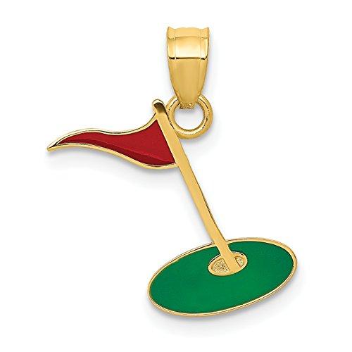 Mireval 14k Yellow Gold Enameled Golf Flag on Green Charm (12 x 18 mm) ()