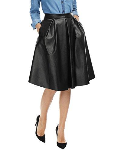 Allegra K Women's Two Side Pockets PU Midi Skater Skirt XL Black (Two Pocket Skirt)