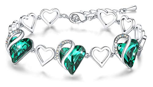 "Leafael ""Infinity Love Heart Bracelet Made with Swarovski Crystals Emerald Green May Birthstone Jewelry Gifts for Women, Silver-Tone, 7""+2"""