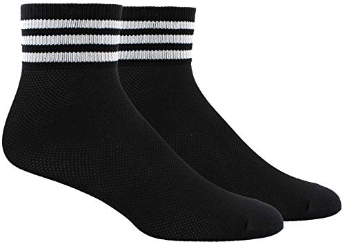 adidas Originals Womens Mesh Striped Ankle Sock (1-Pair), Black/White, Medium, (Shoe Size 5-10)