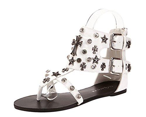 Qitun Sandales D'Été Pour Femmes, Peep-Toe Romaine Chaussures Plates Pour Plage Vacances Blanc