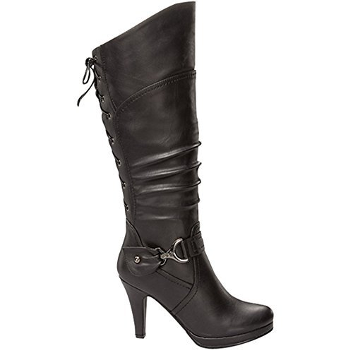Top Moda Womens Page-65 Knee High Round Toe Lace-Up Slouched High Heel Boots,Black,6 (Platform Side Bow Lace)