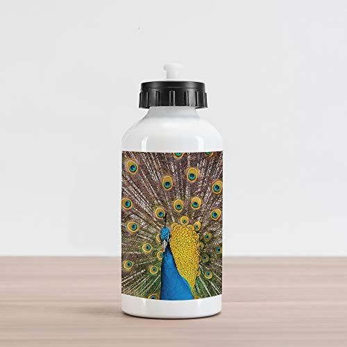 Lunarable Peacock Aluminum Water Bottle, Peacock Displaying Feathers Gold Vibrant Colors Eye Shaped Patterns Picture, Aluminum Insulated Spill-Proof Travel Sports Water Bottle, Mustard Blue Brown (Displaying Feathers Peacock)